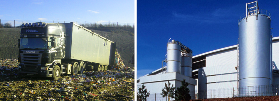Waste disposal and waste processing plant